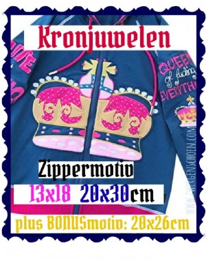 ♥CROWN-JEWELLERY♥ Embroidery-File ZIP-MOTIV 13x18 20x30cm plus BONUSmotiv 20x26cm