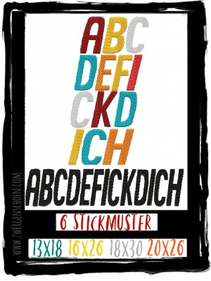 ♥ABCDEF♥ Embroidery GERMAN words 13x18 16x26 18x30 20x26cm