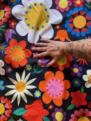 ♥BLUMENSCHÖN XXL♥ 0.5m WEBWARE Riesen-Blumen BLACK
