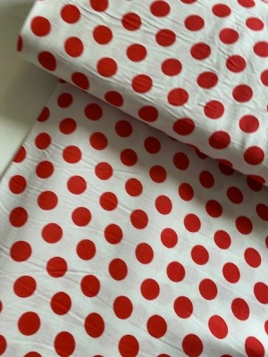 ♥POLKA DOTs♥ 0.5m 100% viscose FABRIC red DOTS