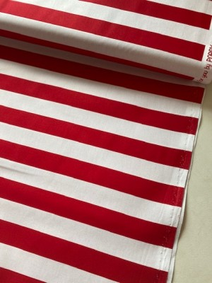 ♥STRIPES♥ 0.5m WOVEN COTTON red/white