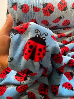 ♥MARIENKÄFER♥ 0.5m KUSCHEL-Fleece LADYBUG blau