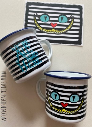 ♥WE ARE ALL MAD HERE♥ Tasse EMAILLE Becher GRINSEKATZE