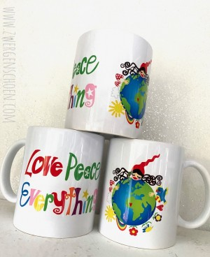 ♥HEILE WELT MILLI♥ Tasse KERAMIK 350ml LOVE PEACE EVERYTHING