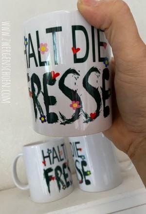 ♥HALT DIE FRESSE♥ Tasse MUG Keramik WEISS 0.3L