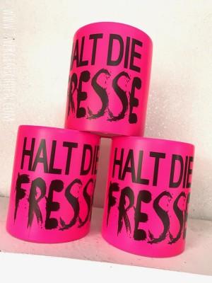 ♥HALT DIE FRESSE♥ Tasse NEON Keramik PINK 350ml HANDWÄSCHE!!!