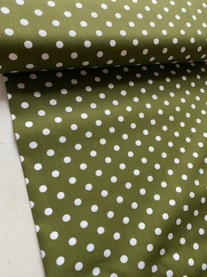 ♥POLKA DOTS♥ 0.5m WOVEN cotton GREEN olive