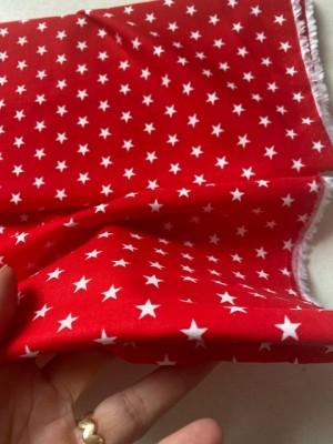 ♥little SUPERSTARS♥ 0.5m WHITE Stars on RED cotton