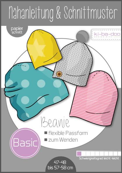 ♥Basic Beanie Mütze♥ Papier Schnittmuster DIN A3 UNISEX 47/48-57/58