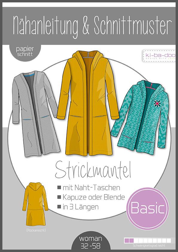 ♥Damen Basic Strickmantel♥ PAPIER-SCHNITTMUSTER Din A0 WOMAN 32-58