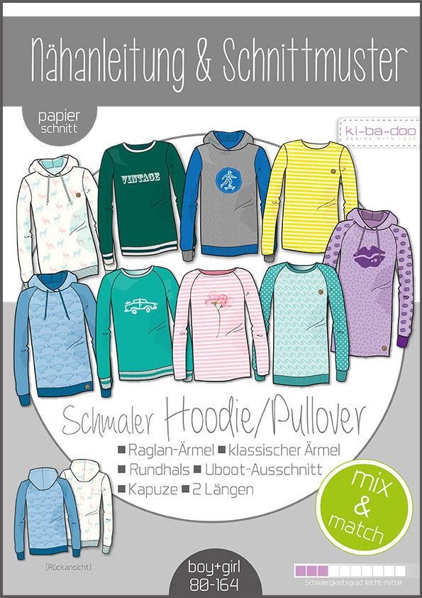 ♥Kinder Mix&Match Sweater/Hoodie♥ Papier Schnittmuster DIN A0 BOY&GIRL 80-164
