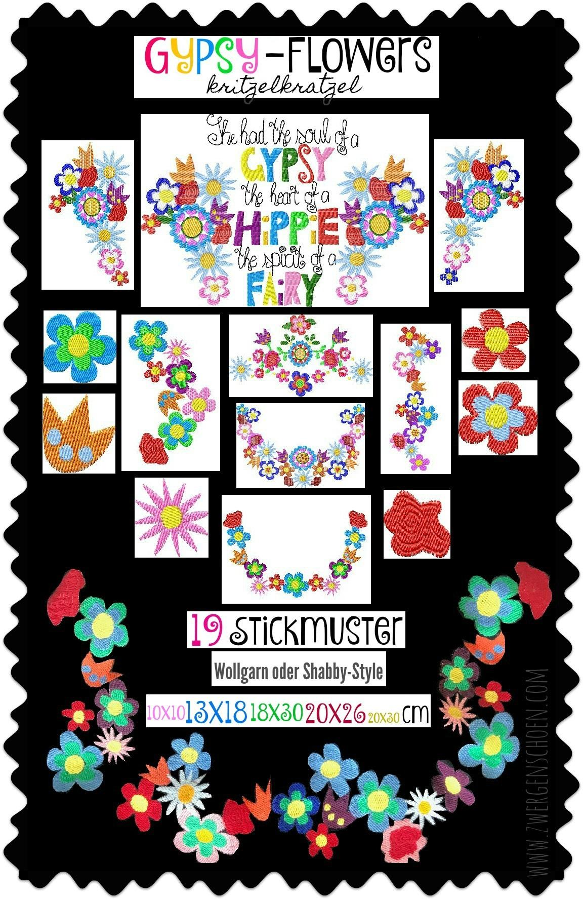 ♥GYPSY-Flowers KRITZELKRATZEL♥ Stickdatei SPEZIAL-EFFEKT Wollgarn BLUMEN 10x10 13x18 18x30 20x26 20x30cm