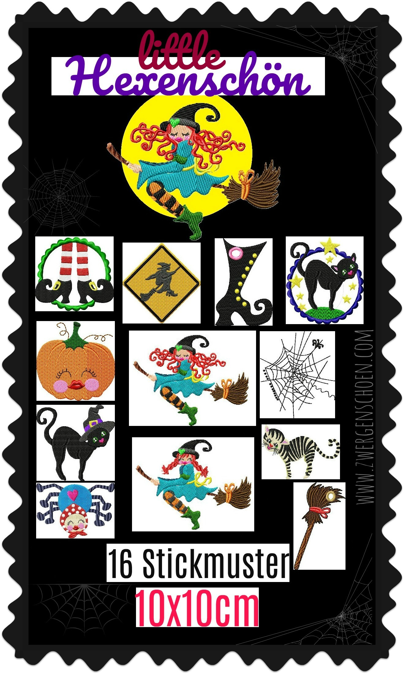 ♥little HEXENSCHoeN♥ Embroidery FILE-Set WITCH 10x10cm