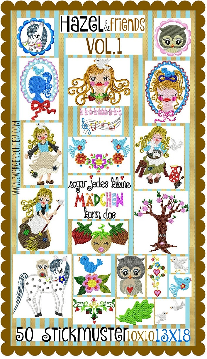 ♥HAZEL&Friends vol.1♥ Embroidery FILE-Set CINDERELLA 3 Nuts 10x10 13x18cm