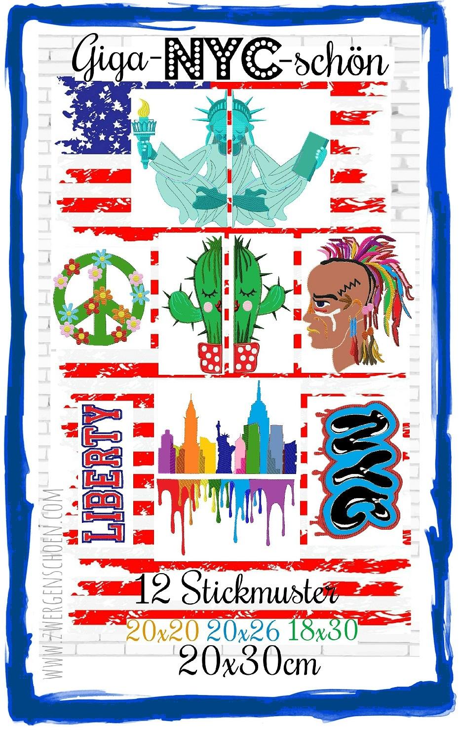♥Giga-NYC-schön♥ Stickmuster NEW YORK Gigahoop USA 20x20 20x26 18x30 20x30cm