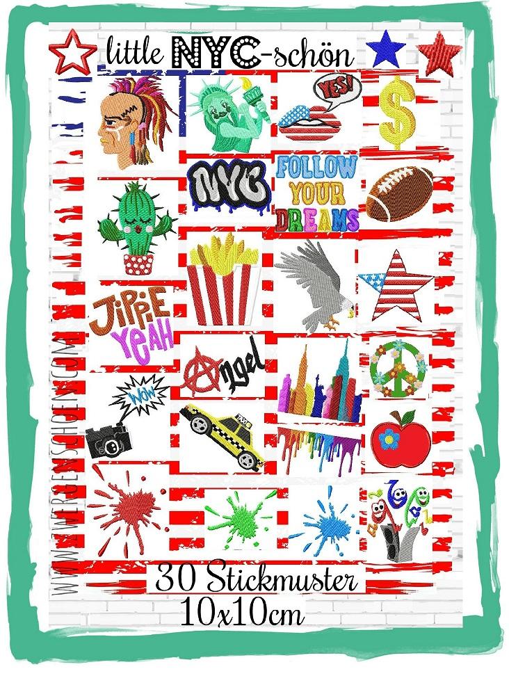 ♥little NYC-schön♥ Stickmuster NEW YORK 10x10cm USA