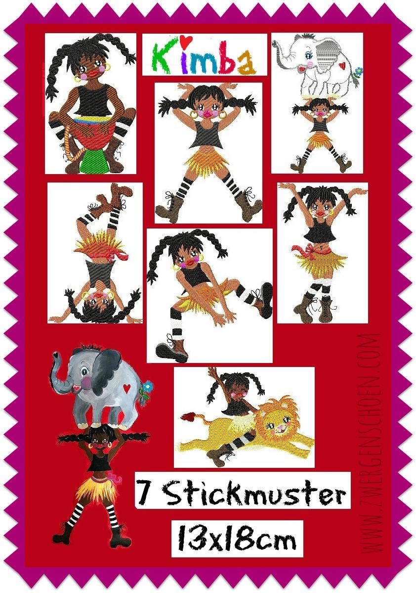 ♥KIMBA♥ Stickmuster WILD GIRLz AFRIKA starke Mädchen