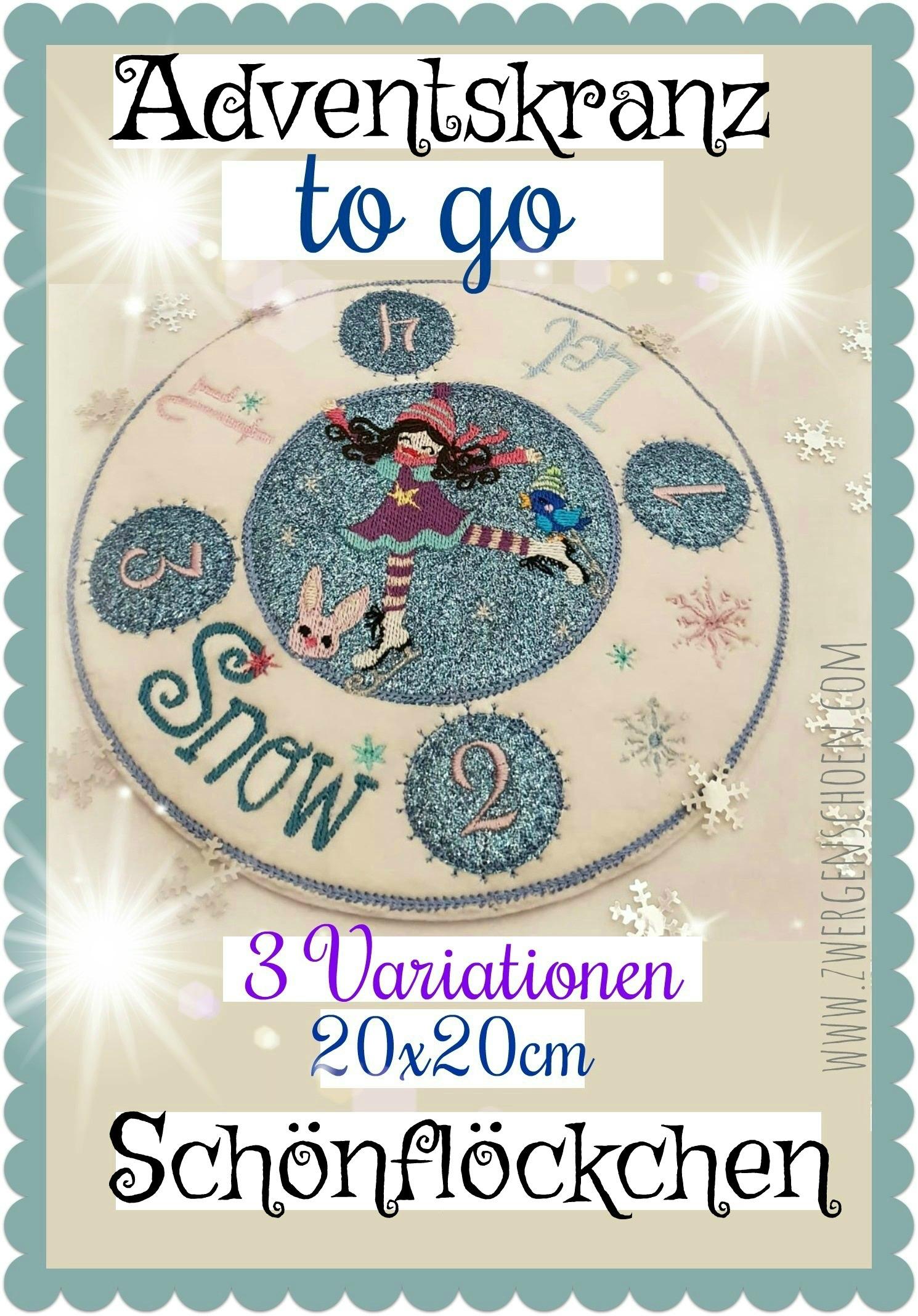 ♥SCHÖNFLÖCKCHEN♥ AdventsKRANZ to go ITH 20x20cm EISKUNSTLÄUFERIN