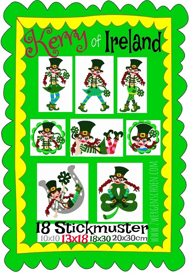♥KERRY of IRELAND♥ Stickmuster LEPRECHAUN Aktionspreis