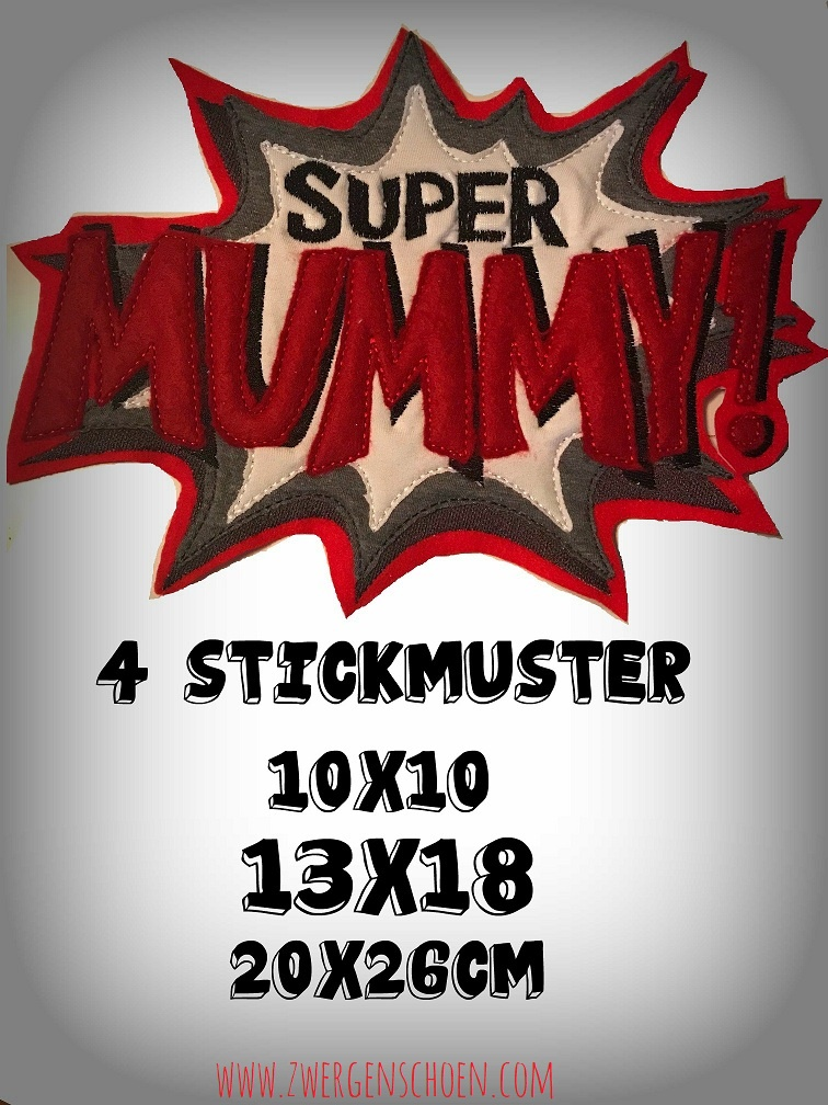 ♥SUPER MUMMY♥ 1€-SPARbie EMBROIDERY FILE 10x10 13x18 20x26cm