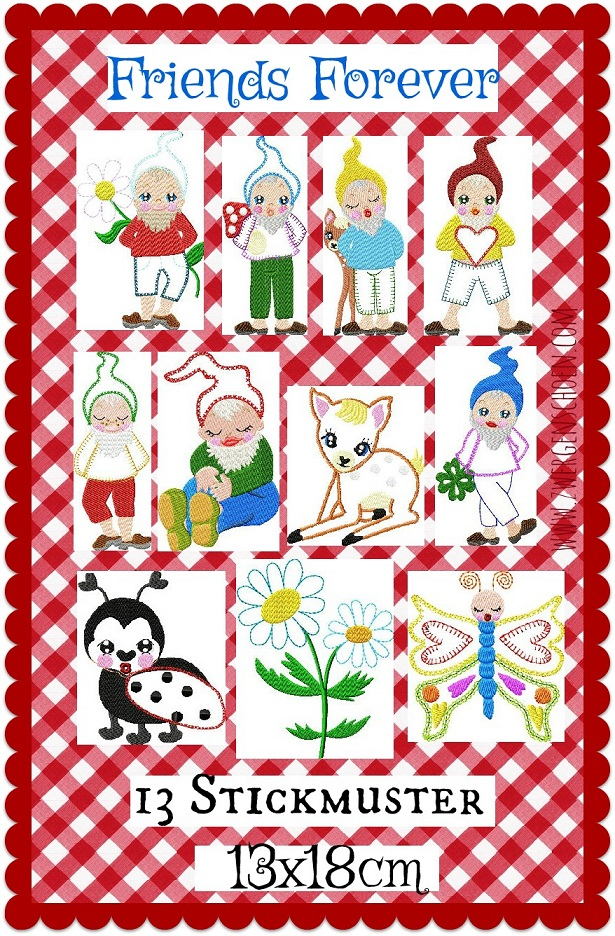 ♥FRIENDS FOREVER♥ Embroidery-FILE-Set DWARF gnome 13x18cm