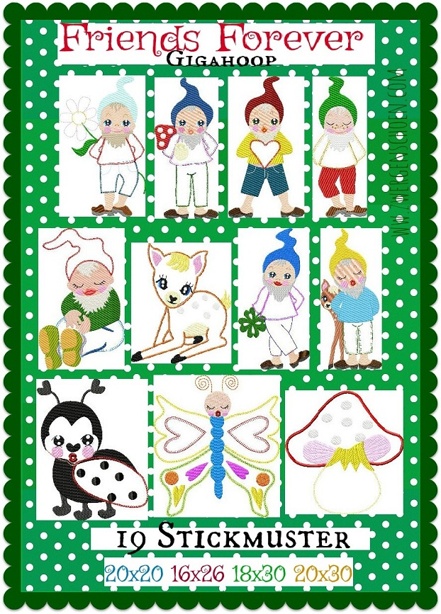 ♥FRIENDS FOREVER♥ Embroidery-FILE-Set DWARF gnome GigaHOOPsies