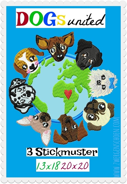 ♥DOGs UNITED♥ Stickmuster 13x18 20x20cm