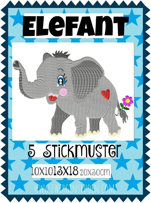 ♥ELEFANT♥ Embroidery-File SAFARI Africa 10x10 13x18 20x30cm
