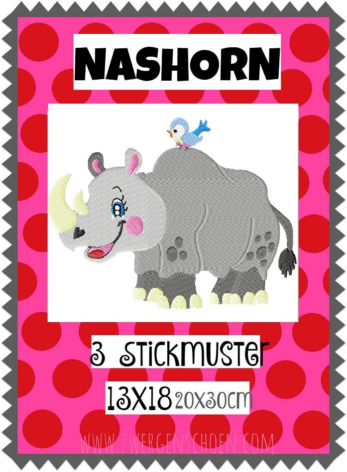 ♥NASHORN♥ Stickmuster RHINO Einzelmotiv SAFARI Afrika 13x18 18x30cm