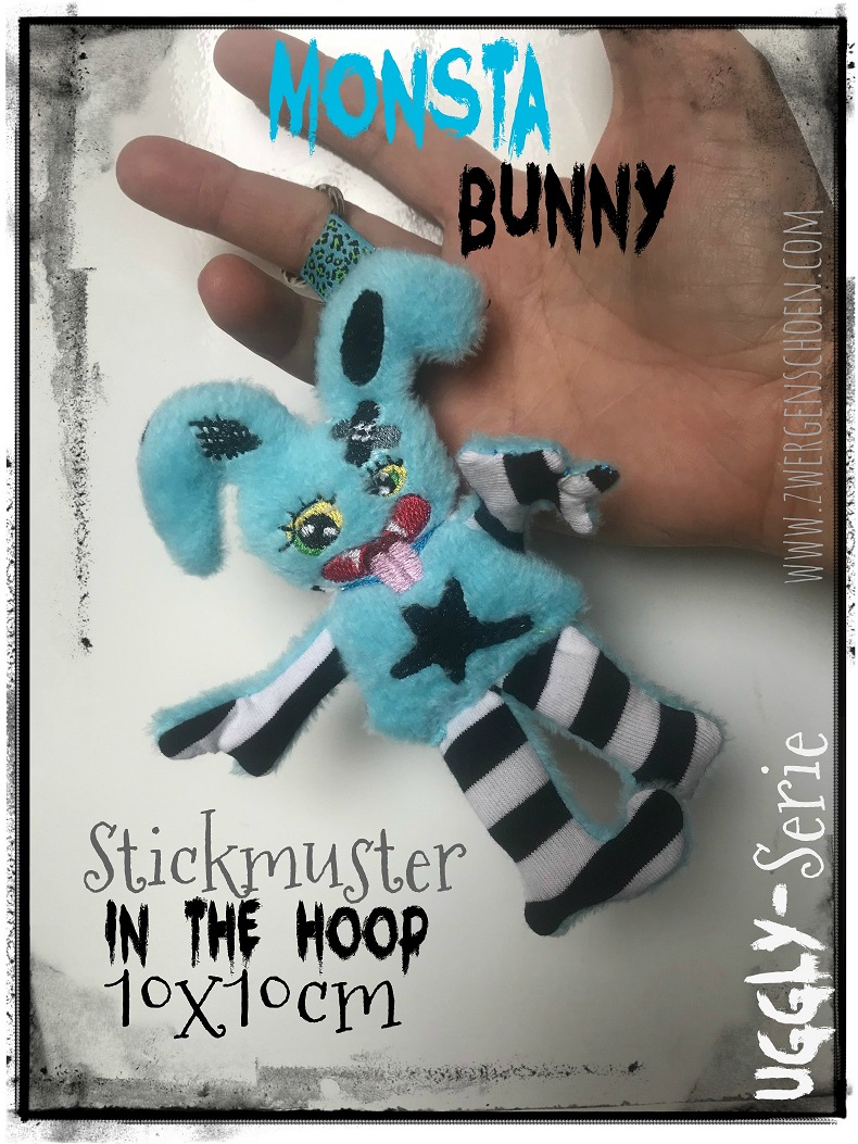 ♥MONSTA Bunny♥ Stickmuster ITH 10x10cm UGGLY SERIE