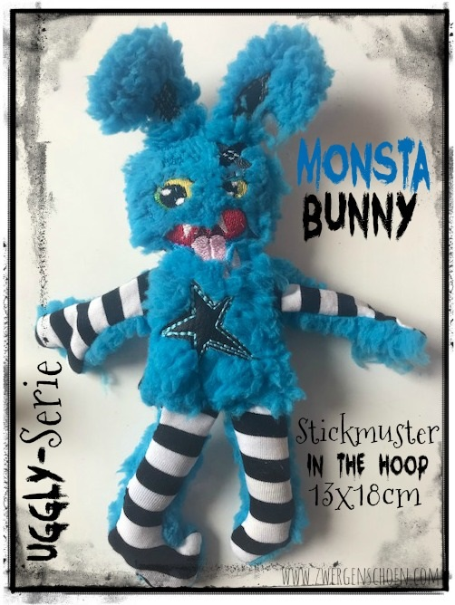 ♥MONSTA Bunny♥ Stickmuster ITH 13x18cm UGGLY SERIE