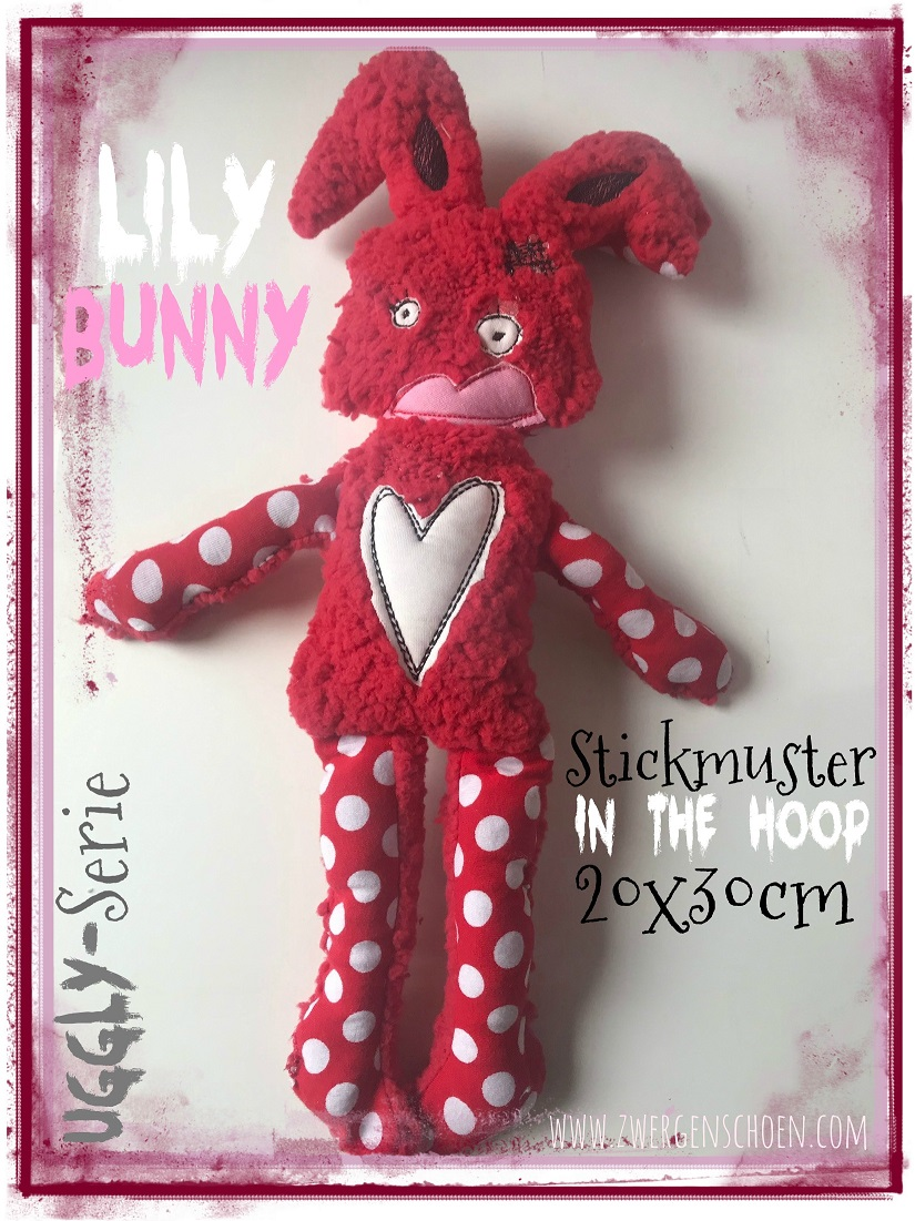 ♥LILY Bunny♥ Stickmuster ITH 20x30cm UGGLY SERIE