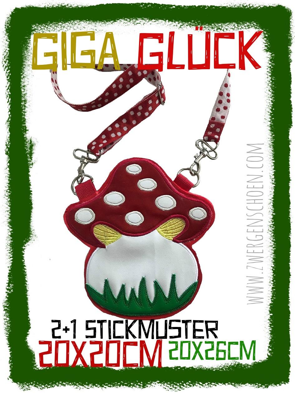 ♥GIGA GLüCK♥ Stickmuster FLIEGENPILZ für TASCHE usw. 20x20 20x26cm
