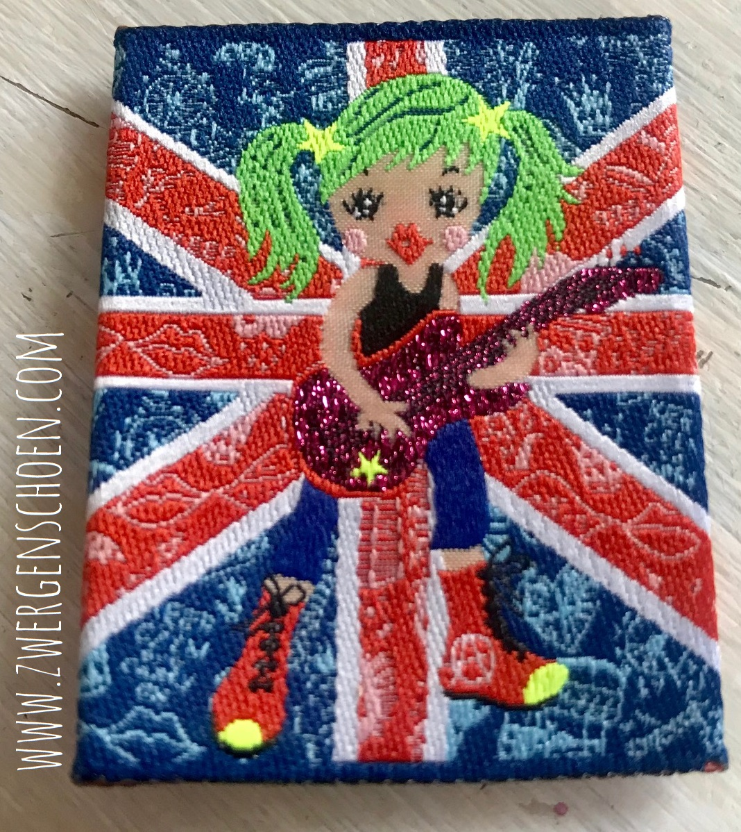 ♥BRITney on UNION JACK♥ Webetikett 5x5cm geFALZt Lurex