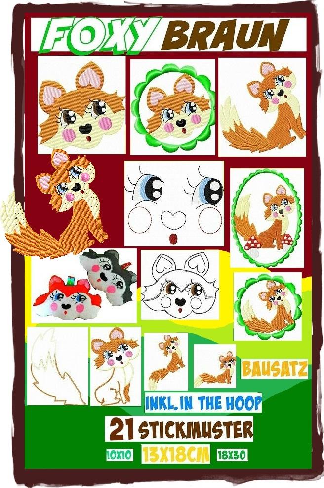 ♥FOXY BRAUN♥ Embroidery File-SET Fox ITH 10x10, 13x18,18x30cm