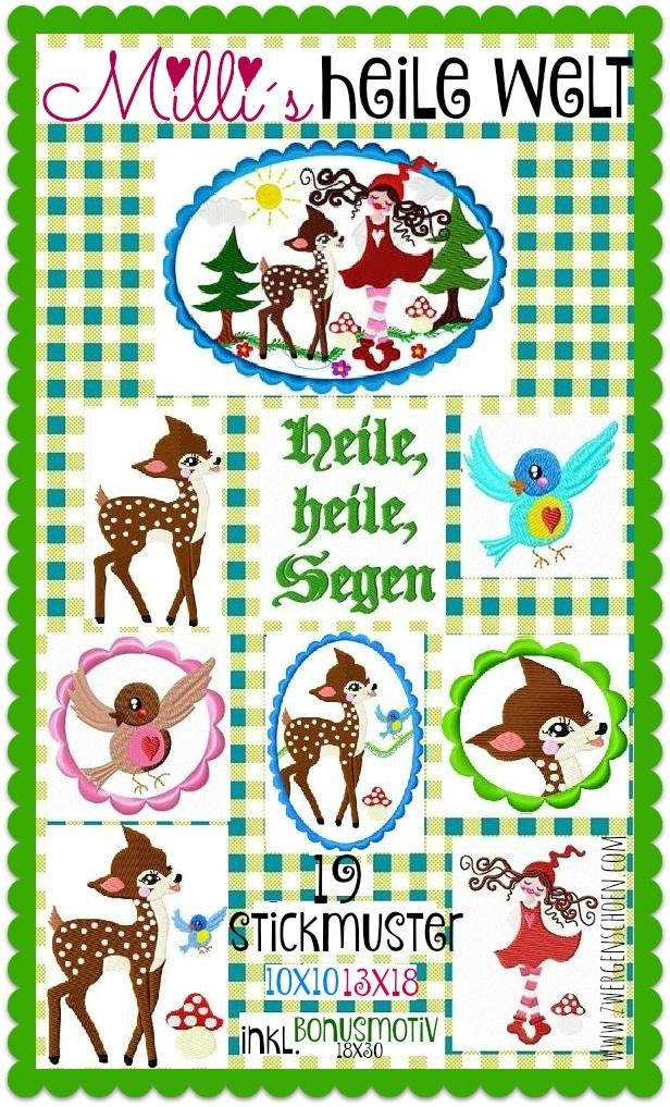 ♥MILLI`s IDYLLIC WORLD♥ Embroidery File-Set 10x10 13x18 BON