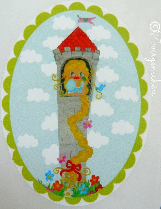 ♥RAPUNZELschön♥ AUFKLEBER 20Stk. OVAL Rapunzel