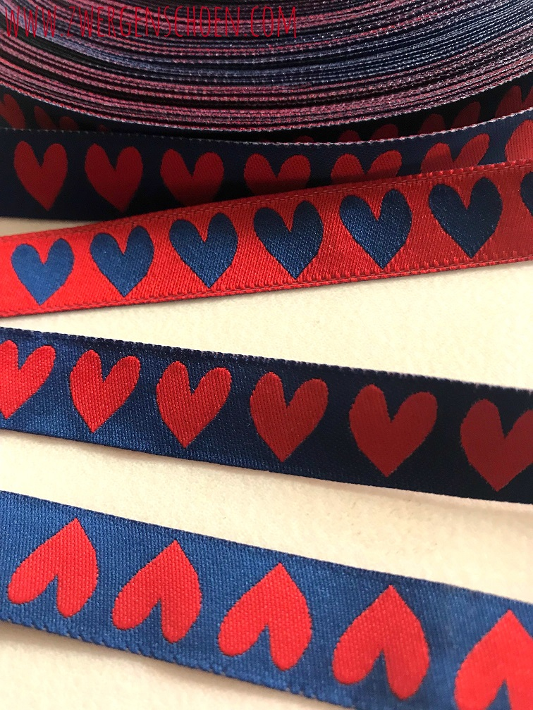 ♥HERZchenSCHoeN♥ Ribbon BLUE&RED 2in1 Price per METER