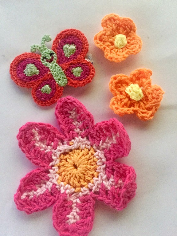 ♥CROCHET PATCHES♥ FLOWER Butterfly 4pcs
