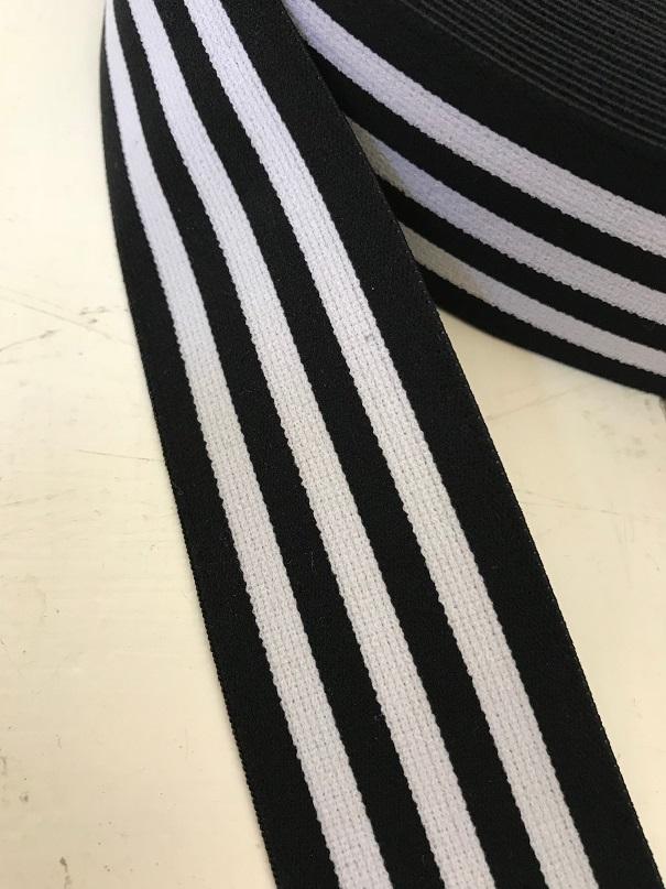 ♥STREIFEN♥ Gummiband 4cm SCHWARZ Stripes BLACK