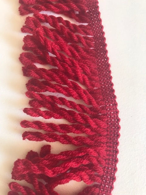 ♥FRANSENBAND♥ Wolle BORDEAUX rot 6.5cm BREIT