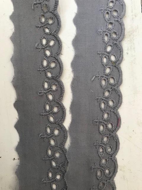 ♥WÄSCHESPITZE♥ BATIST Lingerie STEIN Grau 3cm LOCHSTICKEREI Bogenkante