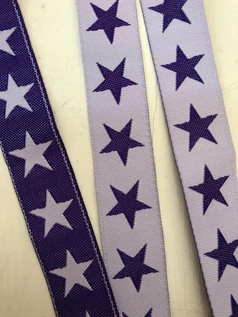 SUPERSTARS♥ Sterne WEBBAND lilla violett METERWARE