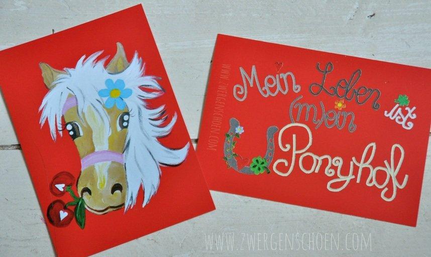 ♥MON CHÈRI♥ POSTKARTEN-Set 3StcK. Pferd PONYHOF