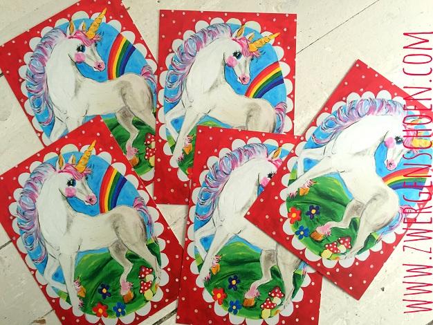 ♥EINHORN♥ Unicorn ECHThörnchen POSTKARTEN-SET 5Stk ROT