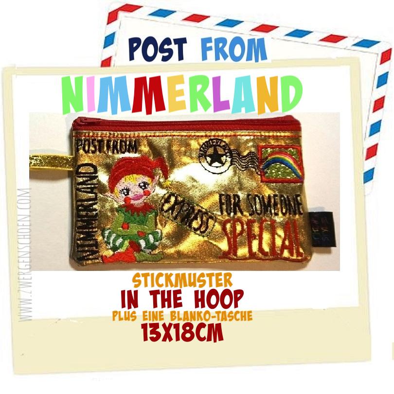 ♥POST from NIMMERLAND♥ Stickmuster TASCHE Weihnachtspost ITH 13x18cm