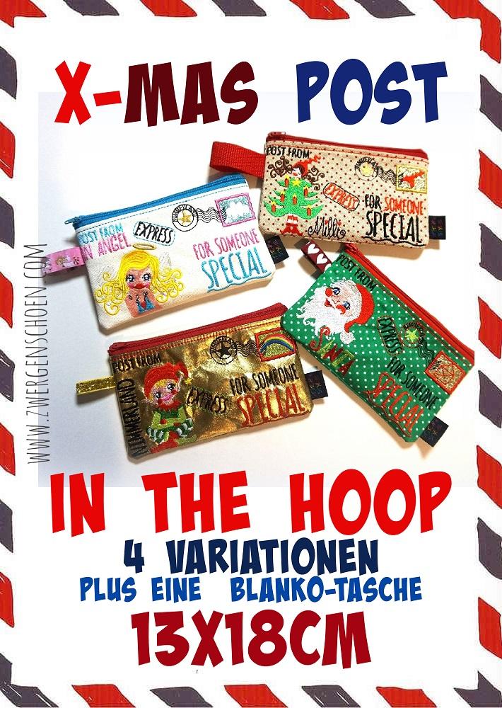 ♥X-mas POST♥ Stickmuster 4in1 SPEZIAL Weihnachtspost ITH Tasche 13x18cm