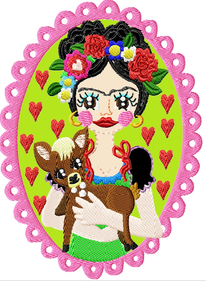 ♥VIVA los ANIMALES Reh♥ STICKMUSTER Rehlein FLOWER girl