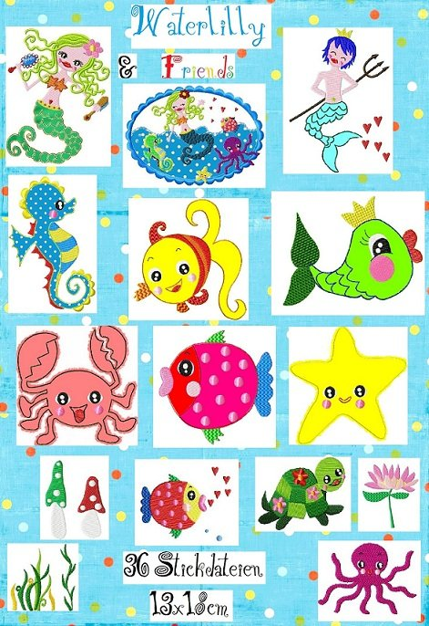 ♥WATERLILLY&Friends♥ meeresWUNDERtolle Stickdatei 13x18 cm