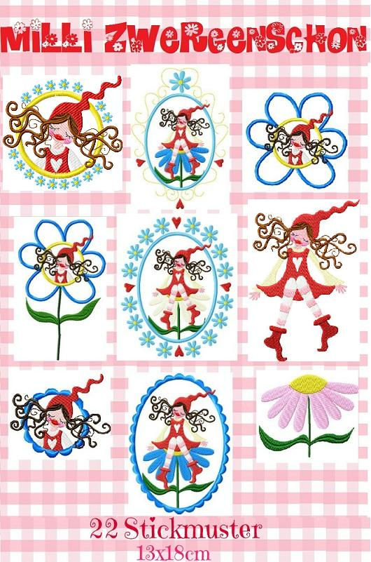 ♥MILLI ZWERGENSCHOEN♥embroidery file set 13x18